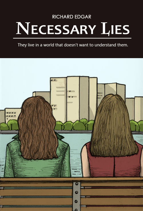Cover art shows two women sitting stiffly on a park bench, looking across the river to where their live together once was.