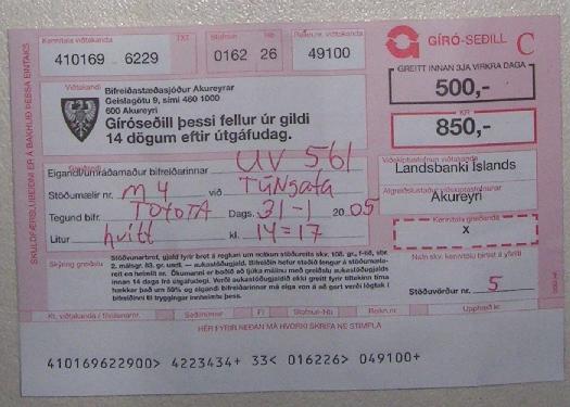 Akureyri parking ticket