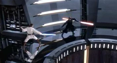 OBI-WAN rushes over to QUI-GON, who is dying.