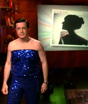 Colbert in Feist outfit